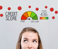 Poor credit score theme with young woman vector illustration