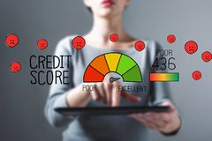 Poor credit score with woman using a tablet. Poor credit score with business woman using a tablet computer royalty free stock images