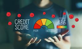 Poor credit score with young man royalty free stock photography