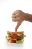 Poor diet, sandwich and thumb down Royalty Free Stock Photos