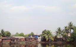 Poor district nearly pond in Mumbai Stock Photos