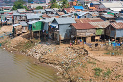 Poor district in Phnom Penh, Cambodia Royalty Free Stock Images