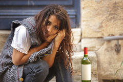 Poor drunk woman Royalty Free Stock Images