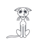 Poor emaciated crying cat line icon Stock Image