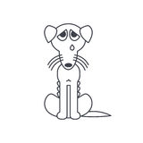 Poor emaciated crying dog line icon Royalty Free Stock Photos