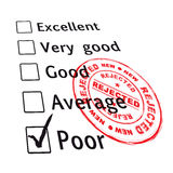 Poor evaluation failed. Poor evaluation that has been failed with red ink stamp with grunge effect Stock Photography
