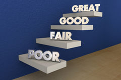Poor Fair Good Great Grades Evaluation Steps Royalty Free Stock Photography