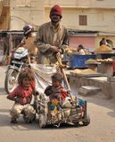 Poor families in the streets of Jaipur. Stock Photography