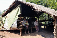 Poor family in Cambodia ethnic minority poor village Stock Photo