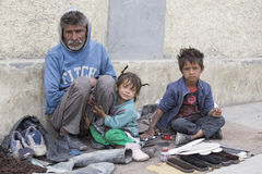 Poor family in Leh, India Stock Images