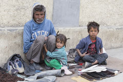 Poor family in Leh, India Royalty Free Stock Image