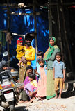 A poor family in slum with happy life Royalty Free Stock Images