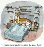 Poor fool. I hear a burglar downstairs, the poor fool Stock Photography
