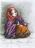 Poor girl. Royalty Free Illustration
