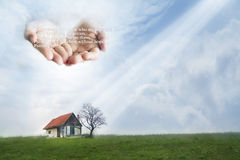 Poor house protected by Hands of God. Quote from Psalm 9:18 Stock Photography