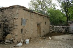 A poor house in village. A poor house and garden in village in NiÄŸde, Turkey royalty free stock photos