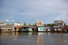 Poor households lives by Mekong river Stock Photography
