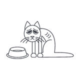Poor hungry cat line icon Stock Photos