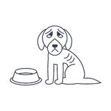 Poor hungry dog line icon. Poor hungry dog sits near empty bowl. Dog adoption concept. Vector line icon  on white background Royalty Free Stock Images