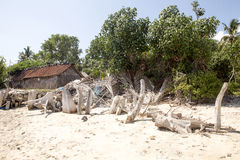 Poor hut seaweed growers, Nusa Penida, Indonesia Stock Photos