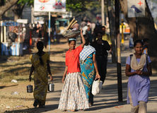A poor India lady in street Royalty Free Stock Photography