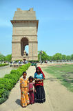 Poor Indian Family Begs in Front of India Gate. Stock Images