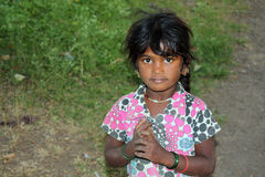 Poor Indian Girl. A poor Indian village girl covered with dirt, in the outdoors Stock Image