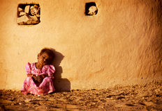Poor Indian Girl in Desert Royalty Free Stock Photo