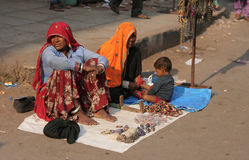 Poor Indian women sell souvenirs Royalty Free Stock Photos