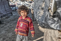 Poor kid at his home. Kid in slum near Patiala , Punjab India Stock Image