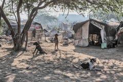 Poor kid at his home. Kid in slum near Patiala , Punjab India Royalty Free Stock Photo