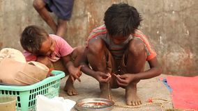 Poor kids in a India.  stock footage