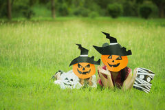 Poor kids play Halloween Stock Photography