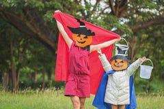 Poor kids play Halloween Stock Images