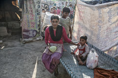 Poor kids at their home. Poor kids in the slum near Patiala , Punjab India Royalty Free Stock Image