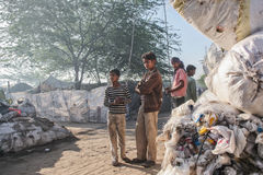 Poor kids at their home. Kids in the slum near Patiala , Punjab India Royalty Free Stock Image