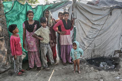 Poor kids at their home. Kids in the slum near Patiala , Punjab India royalty free stock photo
