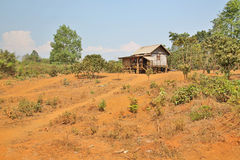 Poor lao village houses in rural life, Laos Stock Photography