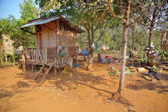 Poor lao village houses in rural life, Laos Royalty Free Stock Photography