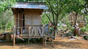 Poor lao village houses in rural life,Laos stock video footage