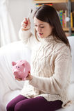 Poor little piggy bank Royalty Free Stock Images