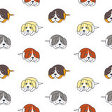 Poor lonely dogs seamless pattern. Bored lonely dogs. Vector line seamless pattern color on white background Stock Images