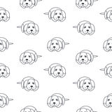 Poor lonely dogs seamless pattern. Bored lonely dogs wait its owners. Dog adoption concept. Vector line seamless pattern black on white background Stock Photos