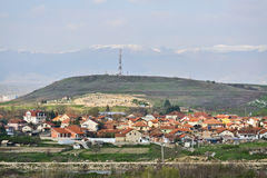 Poor macedonian village. Wide angle view on a poor macedonian village with many houses stock photography