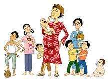 Poor Mama!. Illustration of a poor mother with plenty of young kids to take care of. She looks so sick and worn out Vector Illustration