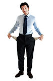 Poor man. Desperate businessman, financial crisis concept royalty free stock photography