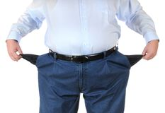 Poor man. With empty pockets royalty free stock image