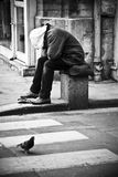 Poor man in Paris Royalty Free Stock Image