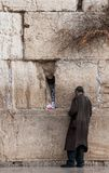 A poor man praying at the Wailing wall, Jerusalem, Israel. Royalty Free Stock Photos