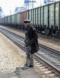 Poor man in the railway station,russian federation. Poor man in the railway station is taken in russian federation stock images